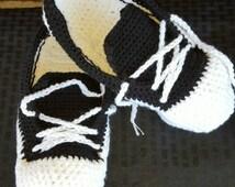 Sneaker Slippers, Crochet Sneaker Slippers, Sneaker Booties, Black Slippers, Crochet House Shoes, Crochet Tennis Shoes, Black and White