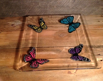 Butterfly Plate 10x10, Hand Painted