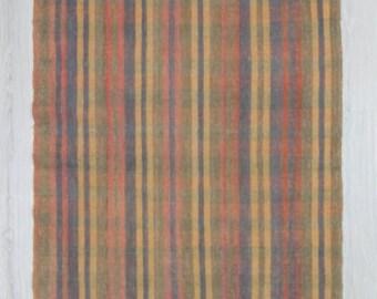 "3'5""x18'8"" (104x568cm)Vintage handwoven striped cotton Turkish kilim runner rug,FREE SHIPPING"