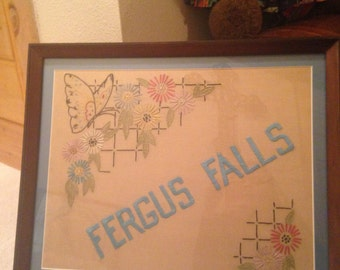 Beautiful vintage hand embroidered floral Fergus Falls Minnesota framed wall art
