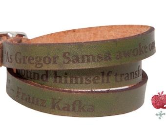 Leather Wrap Bracelet -- Franz Kafka Quote