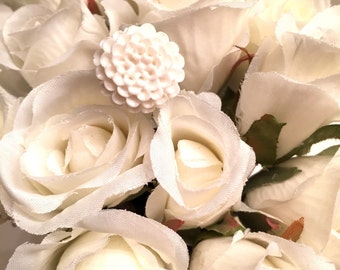 White Zinnia Flower Ring