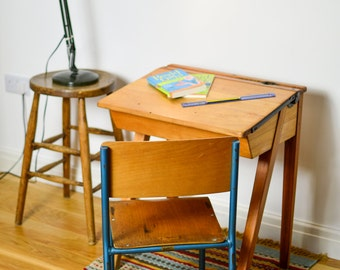 Reclaimed 1950's school desk and chair