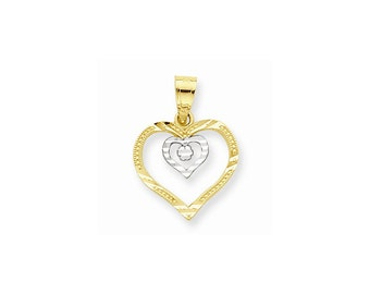 10k Yellow Gold & Rhodium Heart Charm