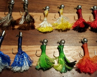 1/16 oz Weighted Paracord Fishing Lures (12pcs)