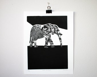Tiger and Elephant Print | Linocut Block Print | all net proceeds are donated to support anti-poaching efforts
