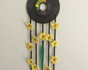 Music Record Dreamcatcher-Vintage 45 Record Parrot Dreamcatcher with Feathers & Flowers