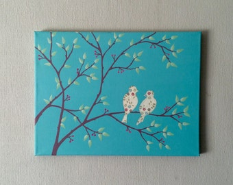 Original acrylic painting with decoupaged birds on tree branches.