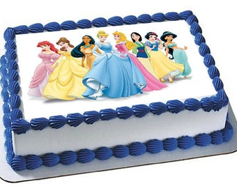 Disney Princesses Cake Topper, Cupcake Topper, Frosting Sheet, Disney Princess Party
