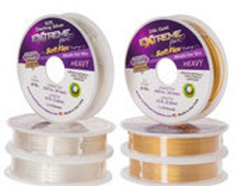 Soft Flex Beading Wire Extreme 10 ft. Spool, Jewelry Making Supplies, Beading Supplies, Necklace Stringing, Sterling Silver, 24K Gold Wire