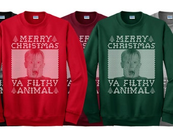 Merry Christmas Ya Filthy Animal SCREAM 1 Color Crew Neck Holiday Sweater