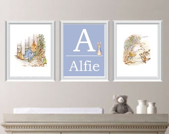 Personalised Peter Rabbit Nursery Art, Beatrix Potter Nursery Decor, Peter Rabbit Decor, Nursery Wall Art, Set of 3, Boy or Girl Wall Art