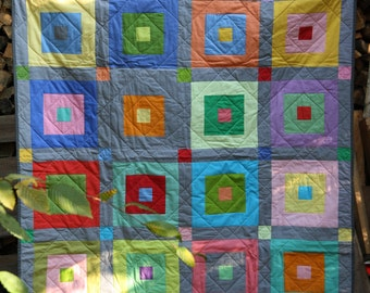 Square in a square - vibrant Throw Quilt
