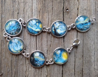 Van Gogh bracelet, Starry Night bracelet, Vincent Vang Gogh Starry Night