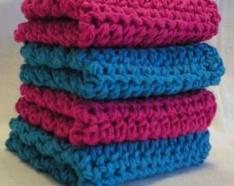 "Handmade Crochet Dishcloths Washcloths 4-Pk, 2 Turquoise, 2 Fuchsia, About 8"" (Dishcloths-5798)"