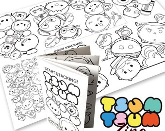 Tsum Tsum Theme Digital Coloring Book Zine