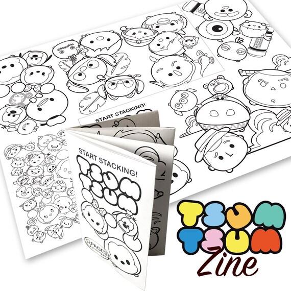 tsum tsum theme digital coloring book zine - Digital Coloring Book