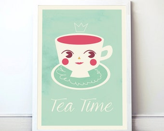 Tea Time Print. Instant download. Art Print for girls. Wall art. Art Wall. PDF format. Printable