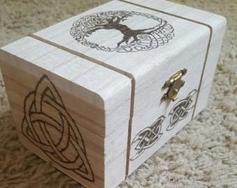 Small celtic hand burned keepsake box