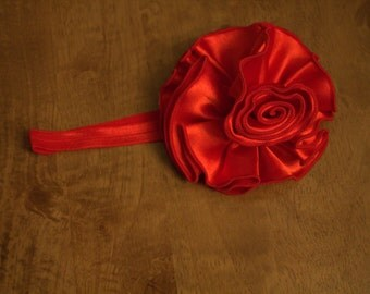 Red Extra Large Satin Flower Headband