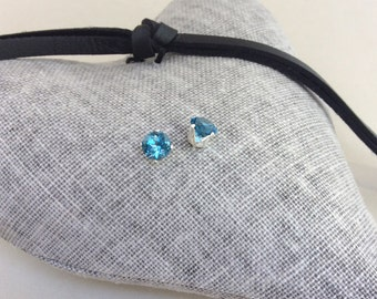 Blue Topaz earrings, stud earrings, precious stone, December birthstone, birthstone earrings