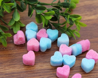 Baby Shower Pink and Blue Heart Shaped Sugar Cubes