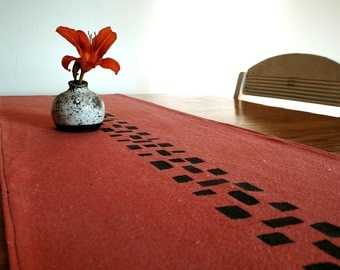 Coral and Gray Tribal Table Runner- 4 feet long