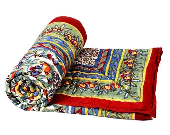 Single Bed Hand Block Printed Red Color Quilt in Floral Design Size 60x90 Inch