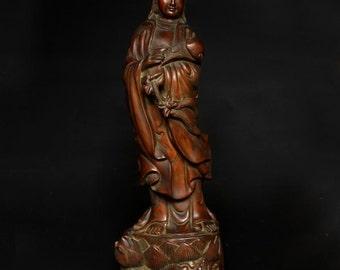 Very Beautiful Chinese Carved Wood Kwan-Yin Statue - Marked