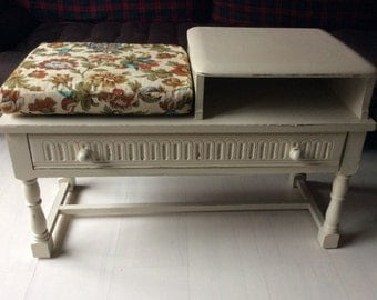 Vintage Shabby Chic Telephone Table / Seat
