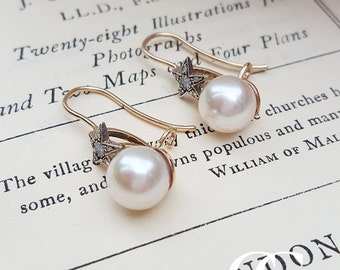 Victorian Style Pearl Earrings with Diamond Studded Stars