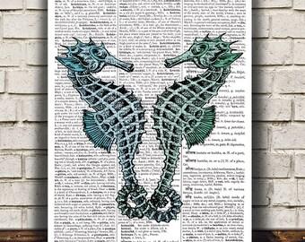 Marine print Sea horse art Nautical poster Beach house print RTA821