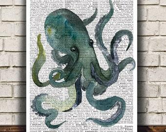 Octopus poster Dictionary print Nautical print Sealife decor RTA1511