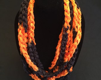 Black and Orange Crocheted Rope Scarf