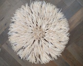 Juju Hat Large 80cm 31 inches White Traditional Authentic Bamileke Tribe 012