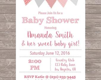 Girl Baby Shower Invitation | JPEG File