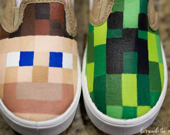 Minecraft Shoes, Custom Steve and Creeper Shoes, Creeper Shoes