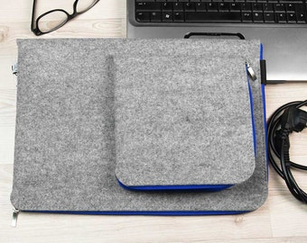 MACBOOK 15 SLEEVE Felt Laptop Cover Gray with Blue Zipper All Sizes Avaliable Notebook Case Laptop Felt Bag