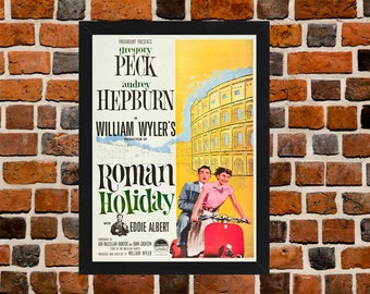Framed Roman Holiday Audrey Hepburn & Gregory Peck Romantic Movie / Film Poster A3 Size Mounted In Black Or White Frame