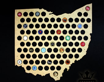 Ohio Beer Cap Map. Christmas Gift for Husband. Beer Cap Display Beer Cap Holder. Gift for Him Gift for Beer Aficionado. Valentine's Day gift