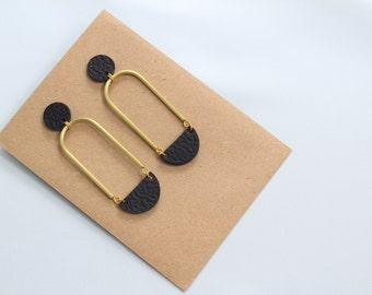 Half Moon Geometric Earrings • Half Round Statement Earrings • Black Leather Earrings • Minimalist Earrings • Long Earrings • UK Jewellery