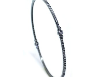 925 Sterling Silver Black Bangle Bracelet – 1.98 CT.TW (S176)