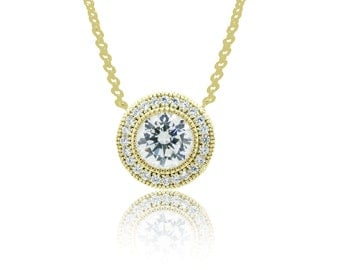 925 Sterling Silver - Gold Circle Necklace with Center Stone (S371)