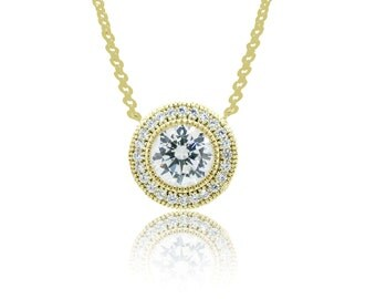 925 Sterling Silver - Gold Circle Necklace with Center Stone (S242)