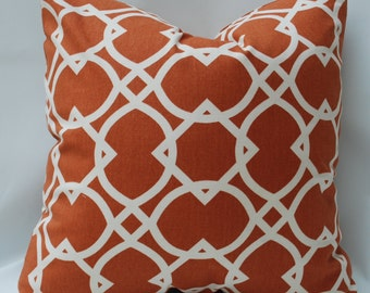 """SALE  20"""" Rust and Cream Pillow"""