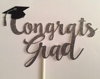 Glitter Graduation Cake Topper