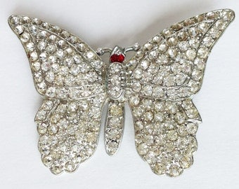 Rhinestone Butterfly Brooch  with Red Eyes/ Butterfly Pin / Vintage Rhinestone Butterfly Pin