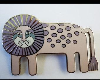 Laurel Burch Leonardo Brooch / Rare Laurel Burch Jewelry / Whimsical Lion Brooch / Collectible Jewelry