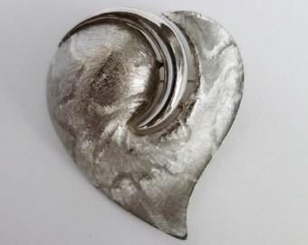 JJ Heart Brooch / Jonette Jewelry Heart Pin / Vintage J.J. Pin