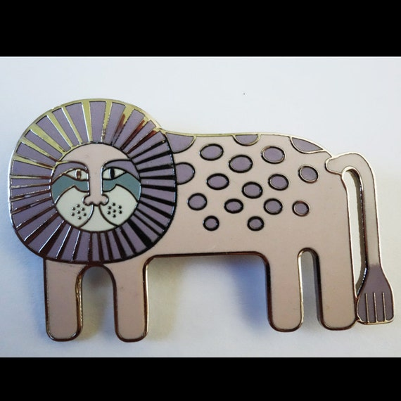 Laurel Burch Leonardo Brooch / Rare Laurel Burch Jewelry / Whimsical Lion Brooch / Collectible Jewelry